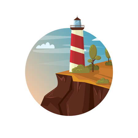 Lighthouse on the rock with sea, landscape vector illustration Illustration