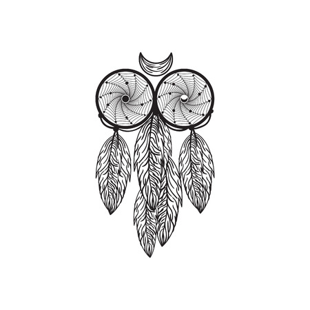Hand drawn native American dreamcatcher owl with feathers vector illustration isolated on white