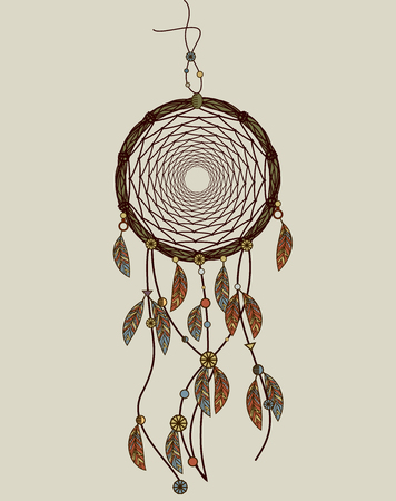 legendary: Hand drawn native American dreamcatcher with feathers vector illustration