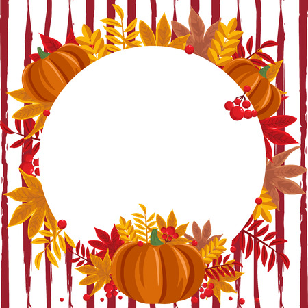 Autumn background vector illustration with pumpkin, autumn leaves and berries