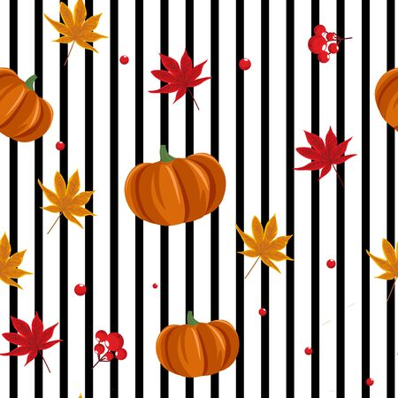 Seamless autumn pattern with pumpkin, leaves and berries
