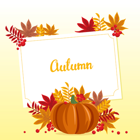 Autumn background. Vector illustration with pumpkin, autumn leaves and berries Illustration