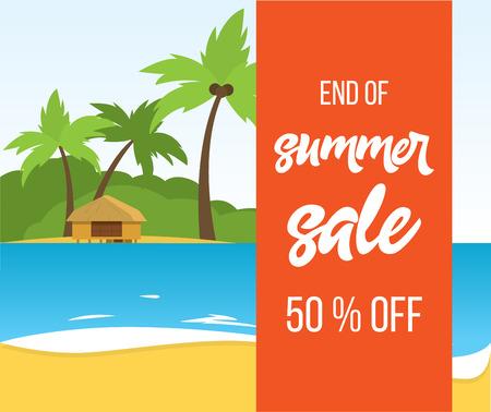 end of summer sale vector banner Vektorové ilustrace
