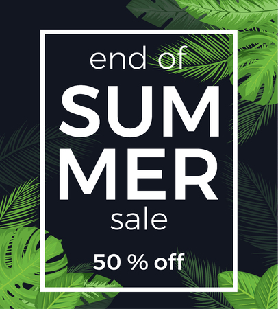 end of summer sale vector banner with palm leaves