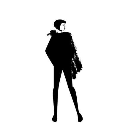 Beautiful young fashion woman. Vector illustration. Stylish