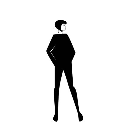 Beautiful young fashion woman. Vector illustration. Stylish