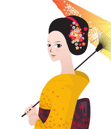 Beautiful japanese woman wear kimono. Vector illustration