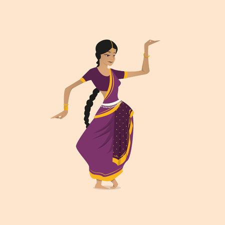 Pretty indian woman dancing wearing sari. Vector