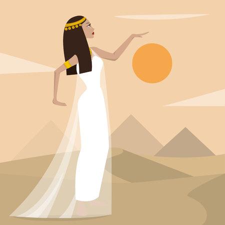 Ancient cartoon pretty egiptian woman. Vector illustration.