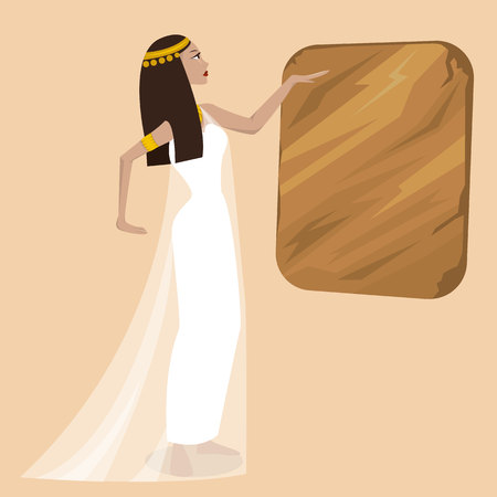 Ancient cartoon pretty egiptian woman. Vector illustration.