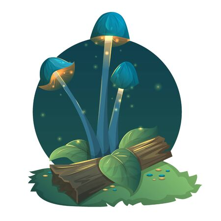 Fantasy mushrooms with light, leaves and grass. Vector illustration Stock Photo