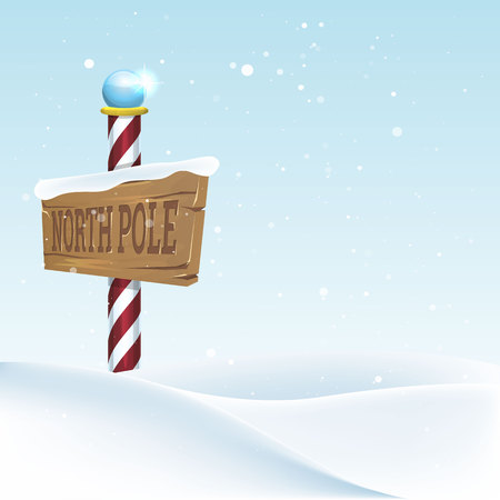 Christmas landscape with North pole sing. Vector illustration