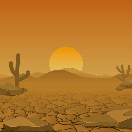 Paisagem do deserto seco. vetor. elemento de design