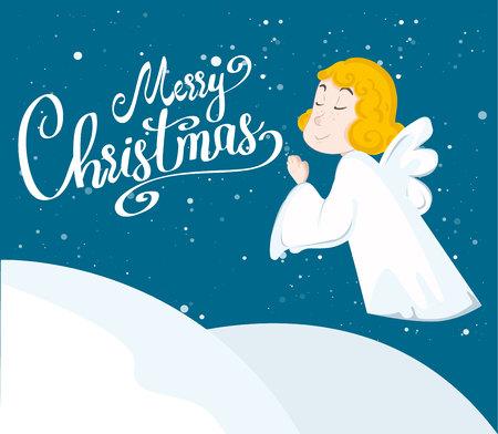 Cute cartoon angel and snow. Merry christmas. Vector illustration