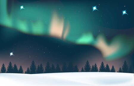 Winter landscape with aurora and forest. Illustration