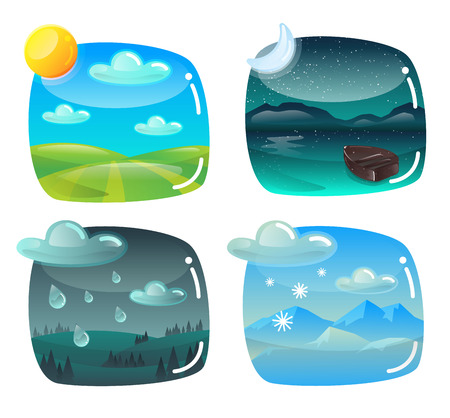 Weather banners set cartoon style. Design elements with hills, clouds, sun, rain and snow Stok Fotoğraf