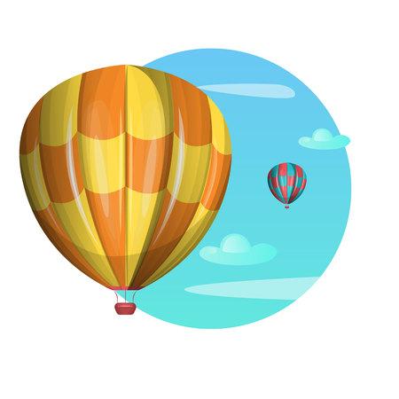 Heteluchtballonnen in de lucht Vector illustratie Stock Illustratie
