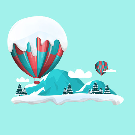 Hot air balloons in the sky. Winter landscape Vector illustration