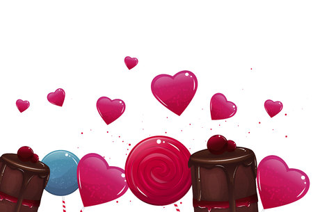 Sweet banner with lollypops and cake. Vector illustration 向量圖像
