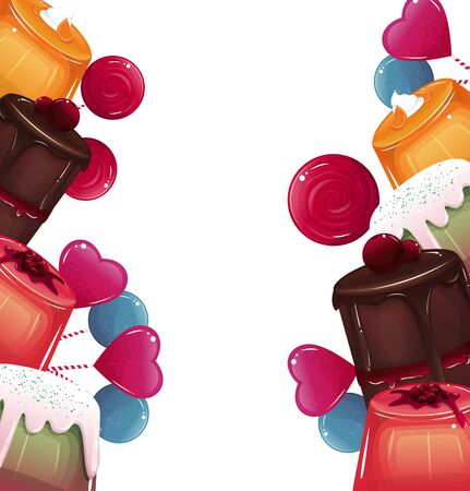 Illustration with jelly, cake and lollypops. Vector