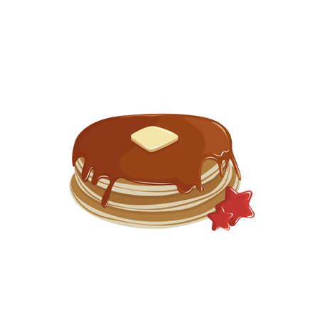 Pancakes with cream and syrup sweet holiday cake food. vector illustration