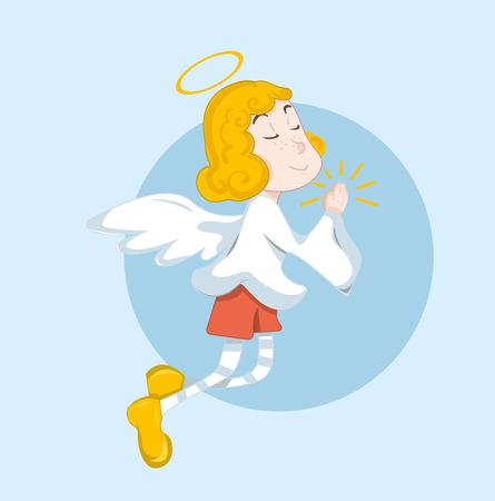 Cute flying cartoon vector angel. Illustration character