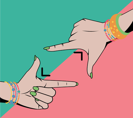 Woman hands doing cropping symbol isolated. Vector background