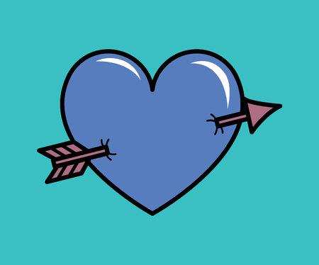 Heart pierced with arrow vector illustration. Eps 10
