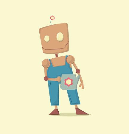 Robo Meditando Dos Desenhos Animados Engracados Com Vetor Da Ideia