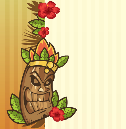 Tiki mask with leaves and fire funny cartoon vector illustration