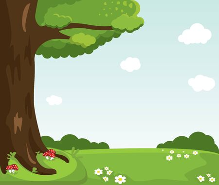 Cartoon vector landscape. Mushrooms, flowers, clouds, tree cartoon