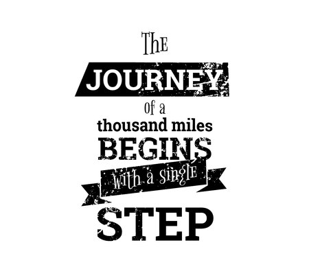 The journey begins with one step Ilustrace