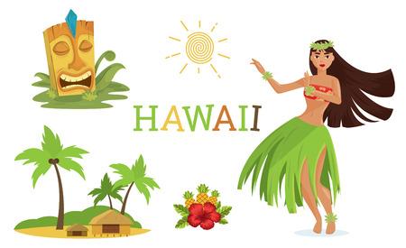 Hawaiiaanse elementen instellen Vector Illustratie