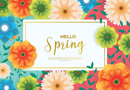 Floral Spring Graphic Design With Colorful Flowers For Flyers