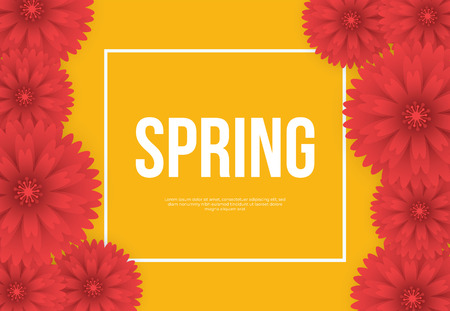 Floral Spring Graphic Design with Colorful Flowers. for flyers, posters, postcards, invitation