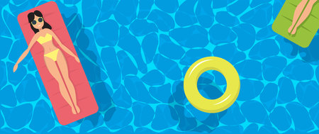 swimming pool top view background. Vector illustration. Water, ring ball girl