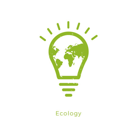 Green contour of shining electric light bulb shaped world. Isolated on White. Flat outline icon.