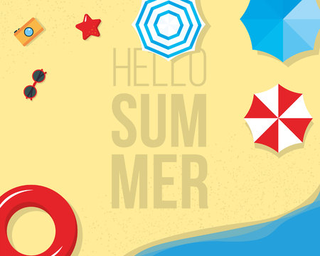 Hello Summer banner with with palms, beach umbrellas, sunglasses design for banner, flyer, invitation, poster, web site or greeting card. vector illustration