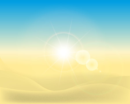 summer beach background with sun for banner, flyer, invitation, poster, web site. vector illustration