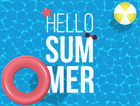 Hello Summer banner with with ball, sunglasses, star design for banner, flyer, invitation, poster, web site or greeting card