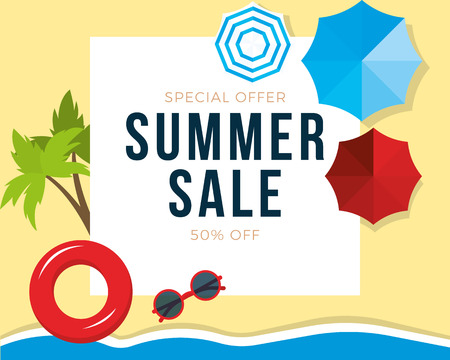 Summer sale banner with palms, beach umbrellas, sunglasses background, design for banner, flyer, invitation, poster, web site or greeting card