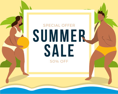 Summer sale banner with couple on beach background, design for banner, flyer, invitation, poster, web site or greeting card