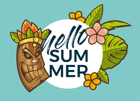 Hello Summer banner with tiki mask and tropical plants design for banner, flyer, invitation, poster, web site or greeting card.