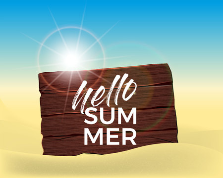 Hello Summer banner beach with sun design for banner, flyer, invitation, poster, web site or greeting card