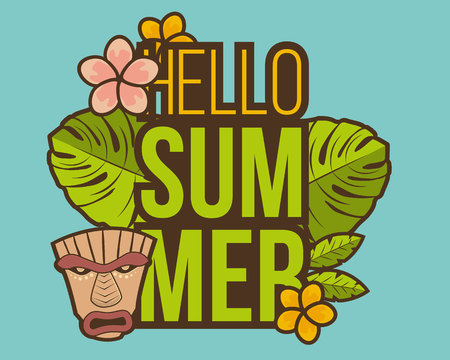 Hello Summer banner with tiki mask and tropical plants