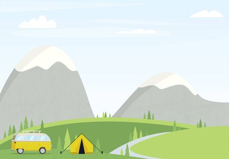 Camp landscape with van vector illustration. Forest