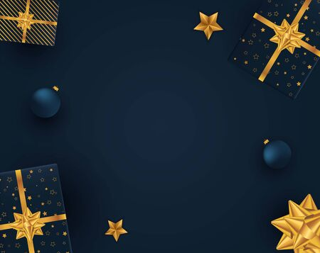 Christmas background with christmas gifts. Vector illustration