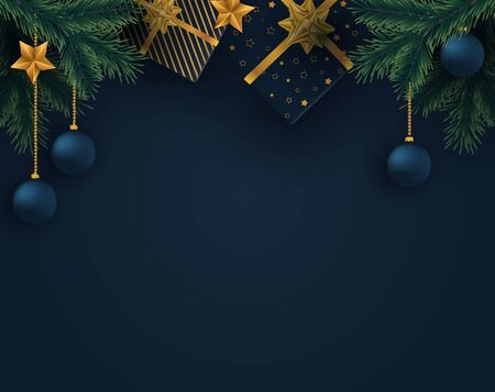 Christmas background with christmas gifts and fir branches. Vector illustration