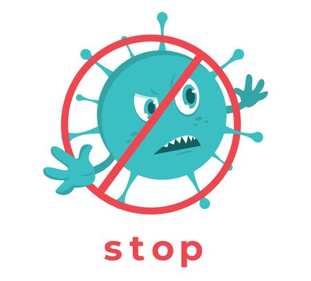 Novel coronavirus 2019-nCoV , Cartoon character coronavirus 2019-nCoV is crossed out with red STOP sign Ilustrace
