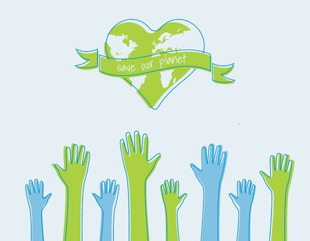save the world Ecology concept. silhouettes of hands raised up Suitable for posters flyers banners for Earth Day Vector illustration isolated on background Иллюстрация